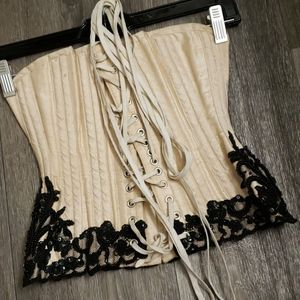 """Morgana Femme Couture Intimates & Sleepwear - Cream and Black Lace 20"""" Corset"""